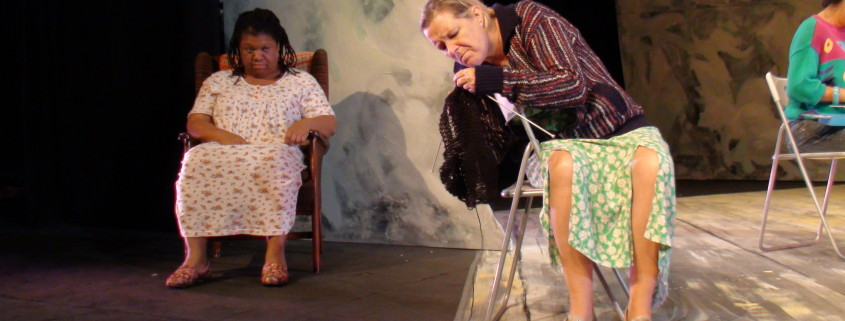 Hetty May Bailey and Penelope Freeman as Celia in The Knitting Circle.