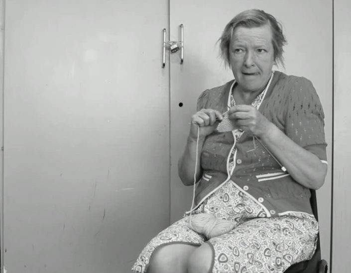 Actor Penelope Freeman in a screenshot from the film 'Voices from the Knitting Circle'.