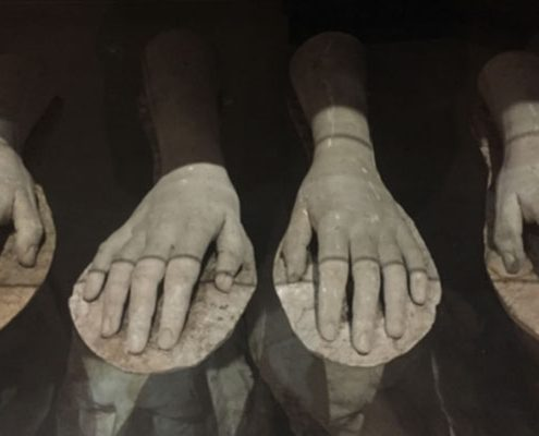 Four plaster casts of female hands rest in an eerily lit museum display cabinet