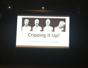 Image of JulieMc's presentation slide showing four photos of disabled artist Alison Lapper.