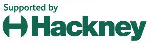 Dark green letters against a white background. The capital letter 'H' with rounded lines on either side, followed by the word 'Hackney'.