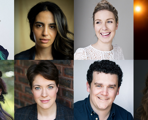 A composite photo of headshots of eight people. It is a diverse mix of people with various characteristics: short and long hair; dark, blonde and turquoise coloured hair; most of them face the camera and smile against a neutral background, trees, a brick wall or stage lighting.